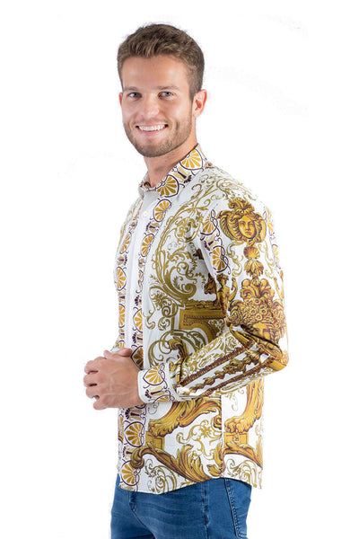 BARABAS Men's Orientalism Pattern Printed White  Button Down Shirts B965