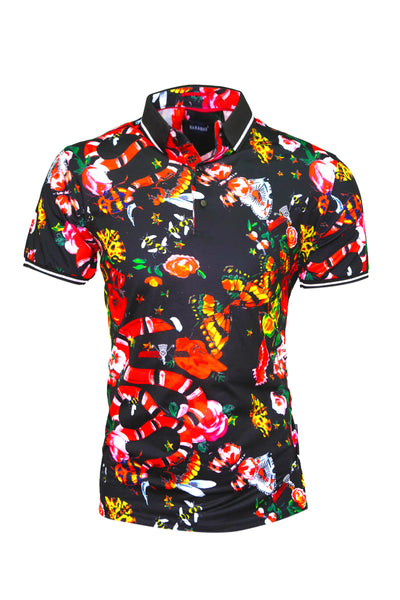Barabas men's Floral animal graphics short sleeve polo shirts BD32