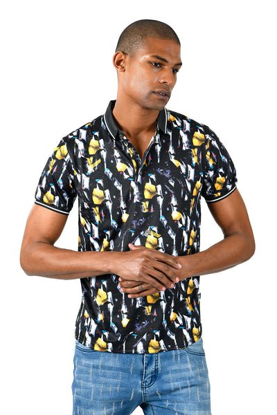 Barabas men's Yellow Gems Prints Graphic Tee Luxury Polo Shirts BD33