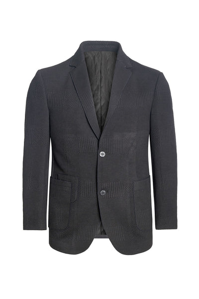 Barabas Men knit texture two-button notch lapel Black blazer BH58