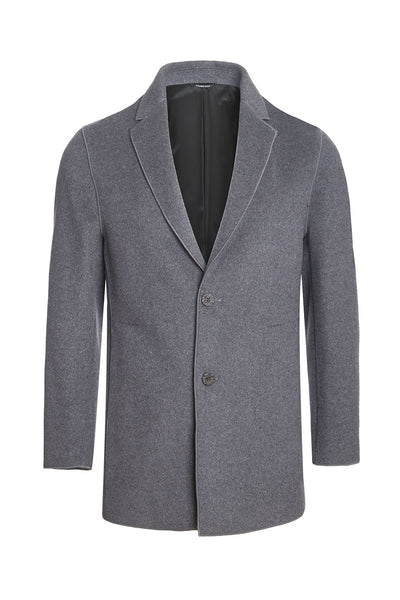 Barabas men two-button notched lapel black grey wool overcoat BH61