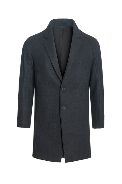 Barabas men two-button notched lapel black wool overcoat BH63