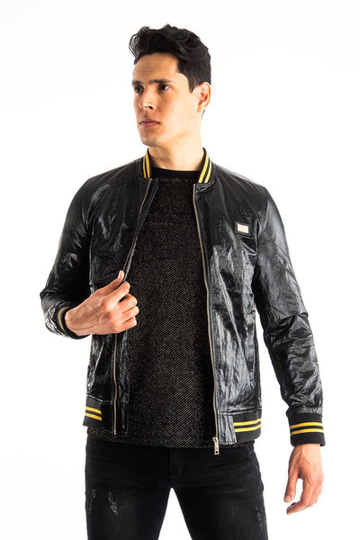 BARABAS Men's Shinny Zipper Bomber Black Jackets BJ2000