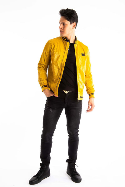 BARABAS Men's Shinny Zipper Bomber Mustard Jackets BJ2000