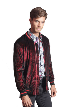 Drip Velour Bomber- Red