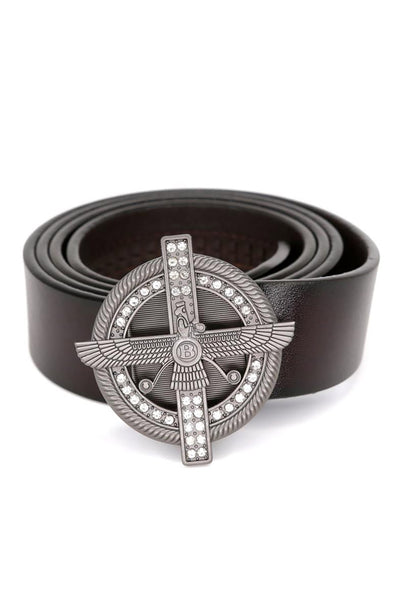 Barabas Men Black buckle Solid color Crocodile Snake belt BK801