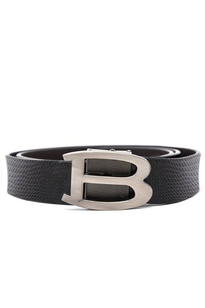 Barabas Men Silver buckle Solid color Crocodile Snake belt BK002