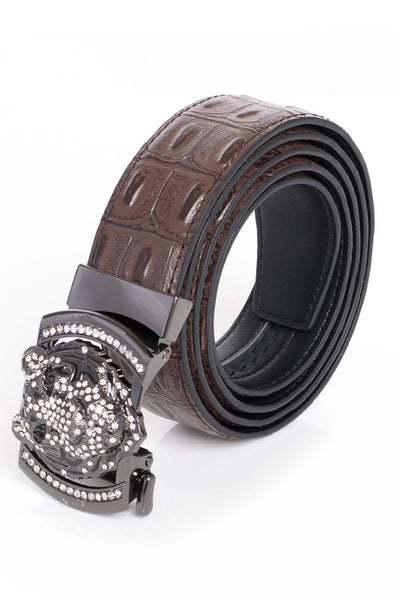 Barabas Men black buckle Solid color Crocodile Snake belt BK11