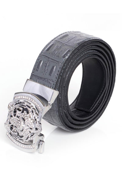 Barabas Men silver buckle Solid color Crocodile Snake belt BK11