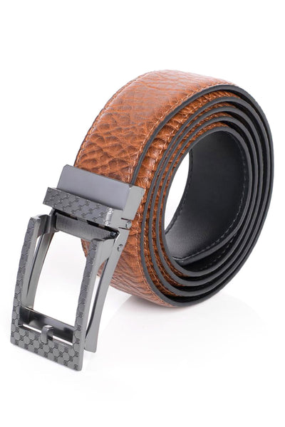 Barabas Men Black buckle Solid color Crocodile Snake belt BK28