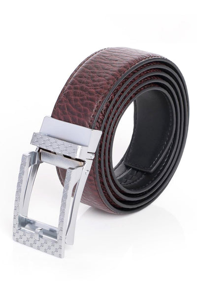 BARABAS Men Belt MATT SILVER/ DARK RED BK28 MATT SILV- D.RED