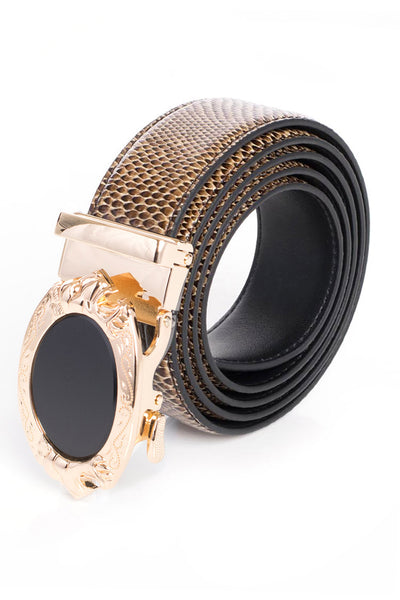 Barabas Men gold buckle Solid color Crocodile Snake belt BK45
