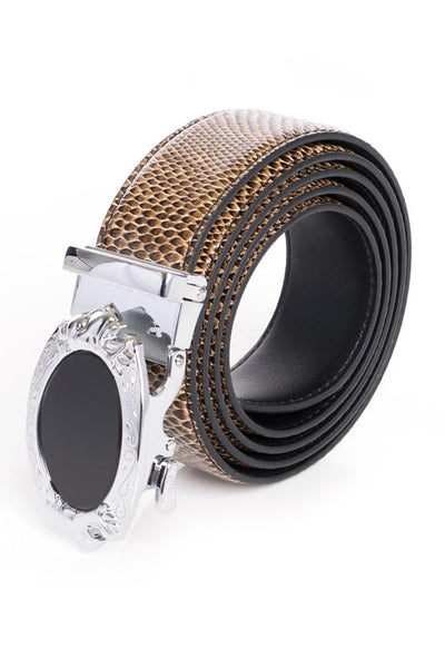BARABAS Men Belt Shine Silver-Brown SNAKE BK45 SHINE SLVR BRWN SNAKE
