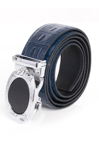 Barabas Men Silver buckle Solid color Crocodile Snake belt BK45