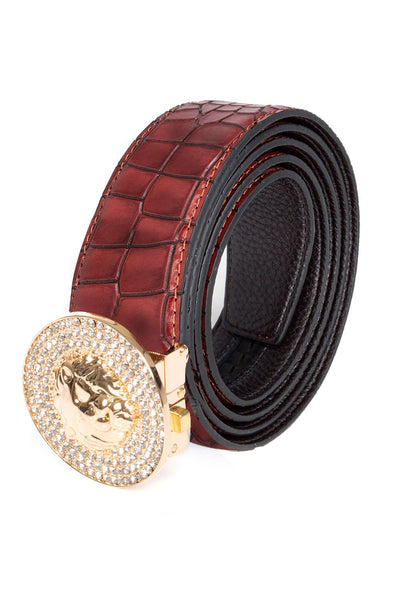 Barabas Men Gold  buckle Solid color Crocodile Snake belt BK803