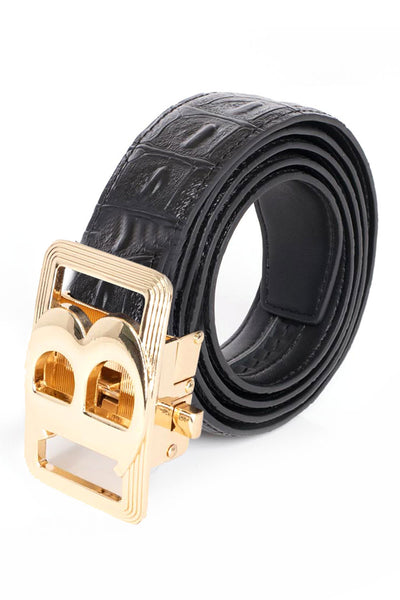 Barabas Men Gold buckle Solid color Crocodile Snake belt BK805