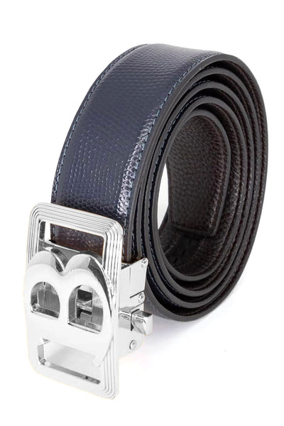 Barabas Men Silver buckle Solid color Crocodile Snake belt BK805