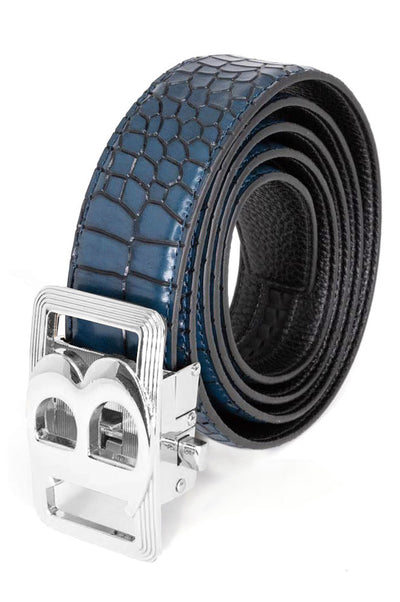 Barabas Men Silver buckle  Blue Crocodile belt BK805