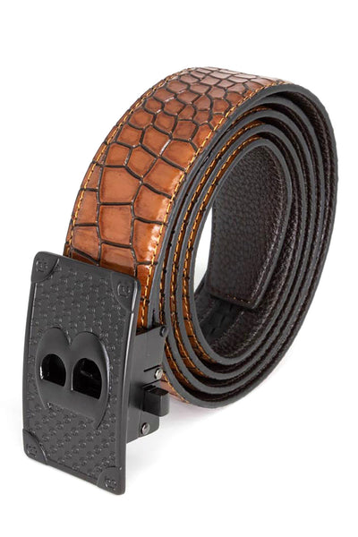 Barabas Men Black buckle Solid color Crocodile Snake belt BK806