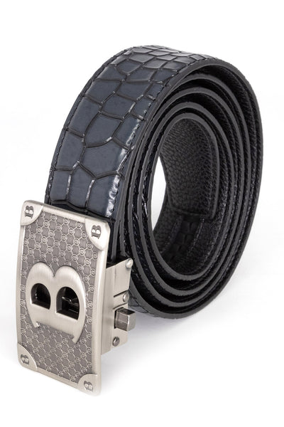 BARABAS Men Belt Bold Silver - Black Crocodile BK806BLK2SLVRMAT