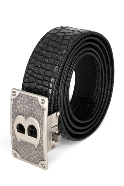 Barabas Men Silver buckle Solid color Crocodile Snake belt BK806