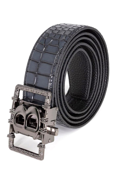 Barabas Men Black buckle Solid color Crocodile Snake belt BK807