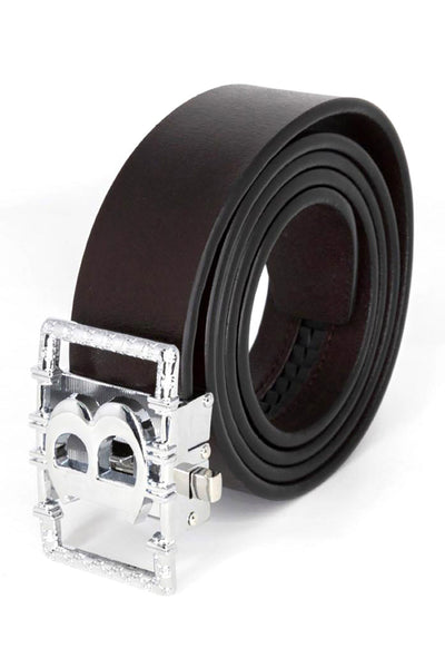 Barabas Men Silver buckle Solid color Crocodile Snake belt BK807