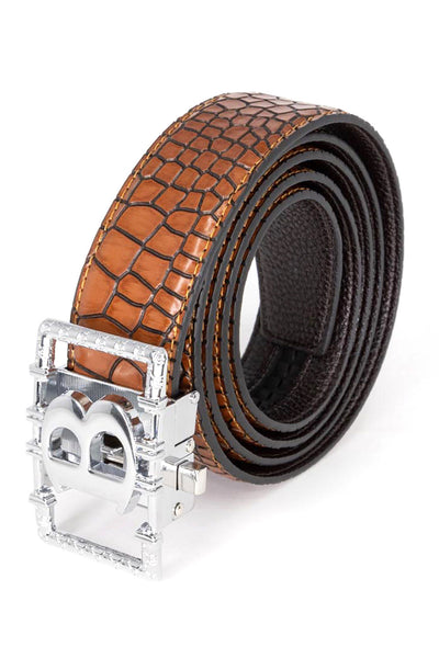 BARABAS Men Belt Shine Silver Buckle Blue Crocodile BK807