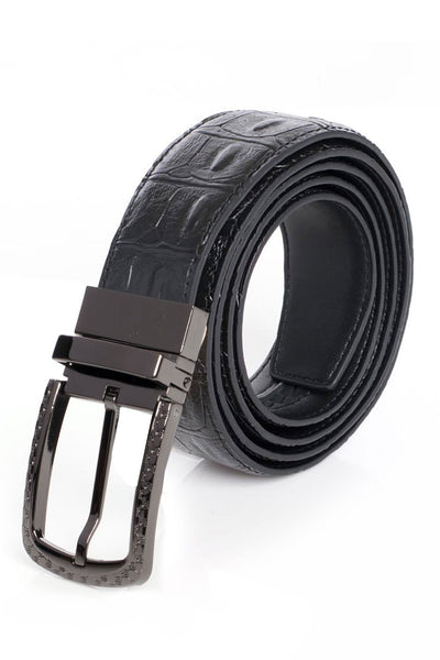 colBarabas Men Black buckle Black Crocodile belt BK809