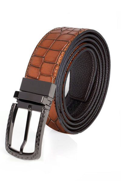 colBarabas Men Black buckle brown Crocodile belt BK809