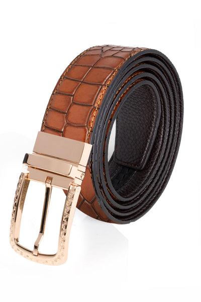 Barabas Men Gold buckle Solid color Crocodile Snake belt BK809