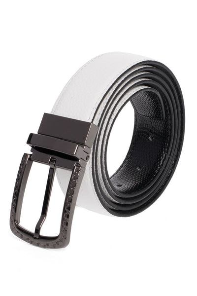 colBarabas Men Black buckle White snake  belt BK809