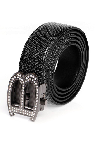 Barabas Men Black buckle Solid color Crocodile Snake belt BK810
