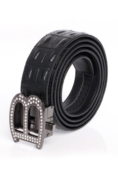 BARABAS Men Belt Shiny Black- Black Croc BK810
