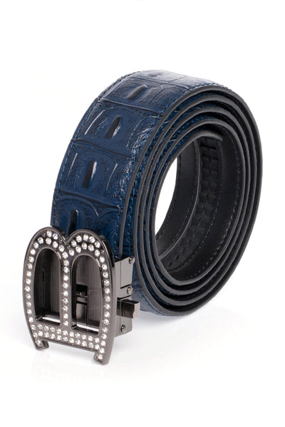 BARABAS Men Belt Shiny Black- Blue Croc BK810