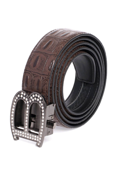 BARABAS Men Belt Shiny Black- Brown Croc BK810