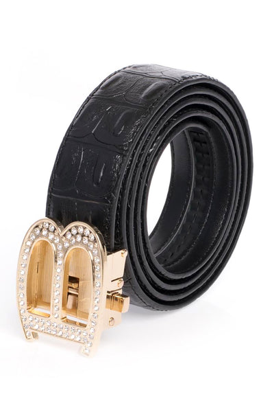 BARABAS Men Belt Shiny Gold- Brown Croc BK810