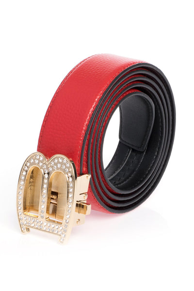 Barabas Men Gold buckle Solid color Crocodile Snake belt BK810