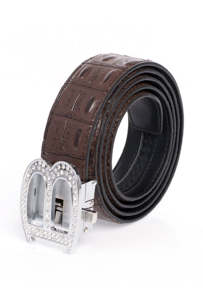 Barabas Men silver buckle Solid color Crocodile Snake belt BK810