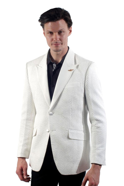 BARABAS Men white shinny small Dimond texture blazer BL3010