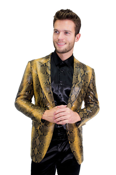 BARABAS Men's Cobra Snake Design Gold  Blazer BL3019