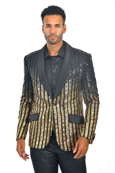 BARABAS Men's Striped Rhinestone Black Gold Designer Blazer BL3059