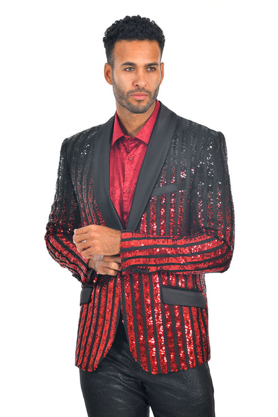 BARABAS Men's Striped Rhinestone Black Red Designer Blazer BL3059