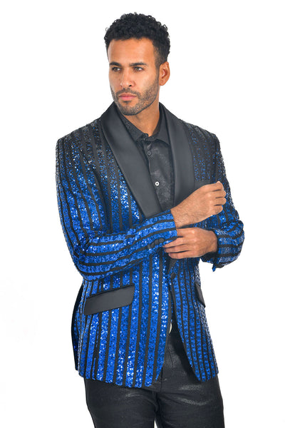 BARABAS Men's Striped Rhinestone Black Royal Blue Designer Blazer BL3059