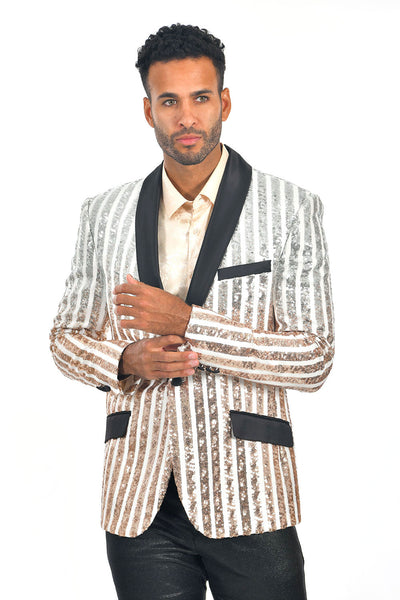BARABAS Men's Striped Rhinestone White Gold Designer Blazer BL3059
