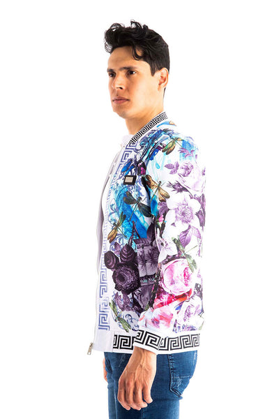 BARABAS Men's Floral Greek Pattern White Zipper bomber Jacket BP651