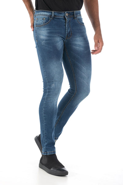 Vassari Men's skinny stretch denim light dark medium blue BS001