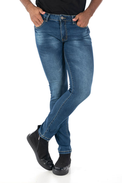 Vassari Men's skinny stretch denim light dark medium blue BS002