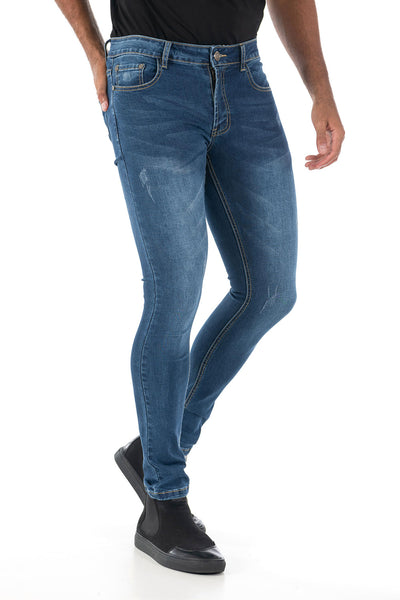 Vassari Men's skinny stretch denim light dark medium blue BS006