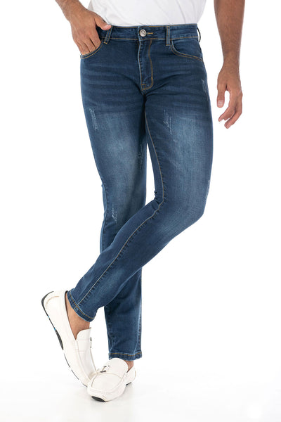 Vassari Men's skinny stretch denim light dark medium blue BS008
